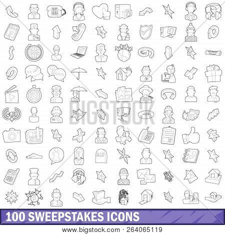 100 Sweepstakes Icons Set In Outline Style For Any Design Illustration