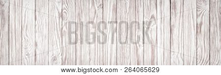 White Wood Board As Background For Table Or Floor Design, Panoramic View. Wood Background Whiteboard