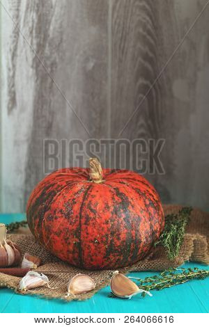 Orange Pumpkin,  Ingredients For Tasty Vegetarian Cooking On Light Wooden Surface, Food Art Backgrou