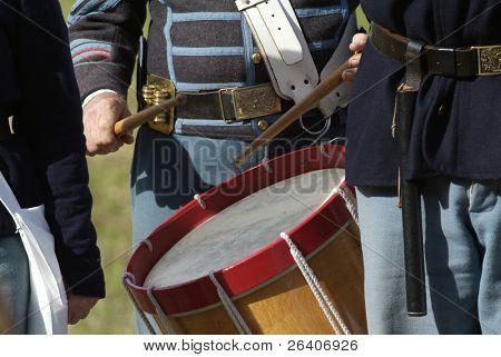 Civil War reenactment Confederate Union drummer