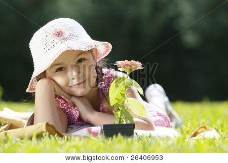 Girl in sun with flower 02