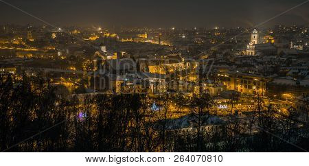 Vilnius Aerial Panorama Of The Old Town. Vilnius Old Town Panorama At Night. Night Panorama Of The V