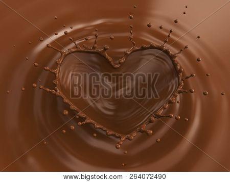 Milk Chocolate Heart Shaped Crown Splash Background. Top View. 3D Illustration.