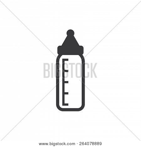 Baby Feeding Bottle Vector Icon On White Background. Baby Feeding Bottle Icon In Modern Design Style