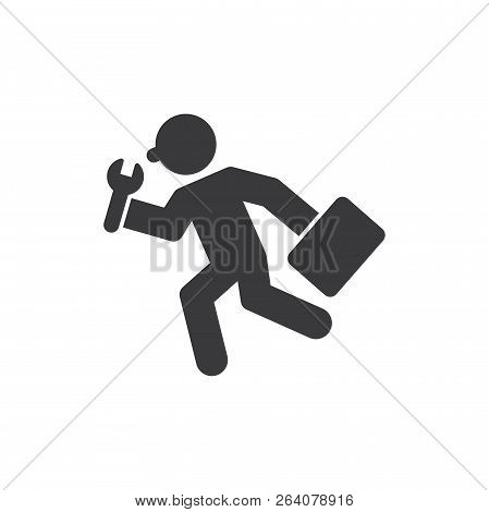 Running Repair Man Vector Icon On White Background. Running Repair Man Icon In Modern Design Style.