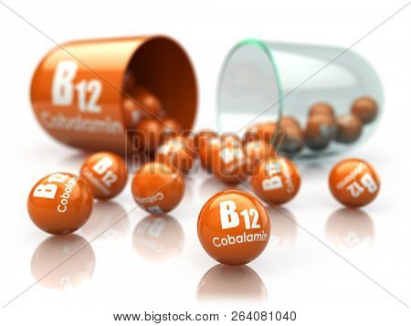 Vitamin B12 capsule isoilated on white. Pill with cobalamin. Dietary supplements. 3d illustration