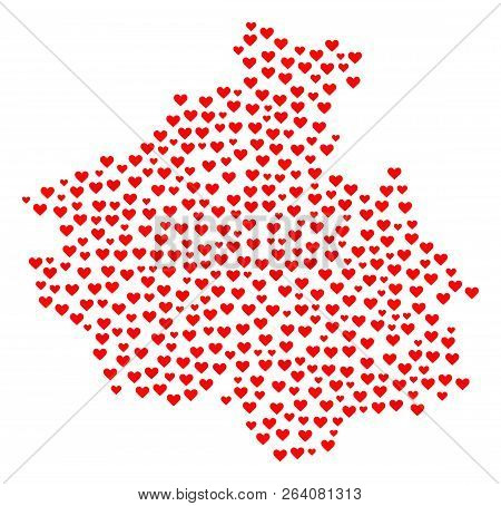 Collage Map Of Altai Republic Composed With Red Love Hearts. Vector Lovely Geographic Abstraction Of