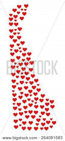 Mosaic Map Of Delaware State Designed With Red Love Hearts. Vector Lovely Geographic Abstraction Of