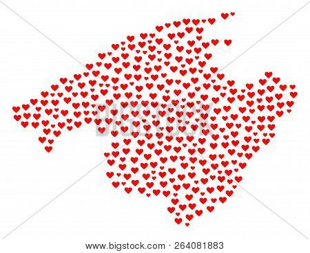 Mosaic Map Of Majorca Formed With Red Love Hearts. Vector Lovely Geographic Abstraction Of Map Of Ma