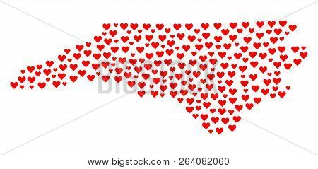 Mosaic Map Of North Carolina State Designed With Red Love Hearts. Vector Lovely Geographic Abstracti