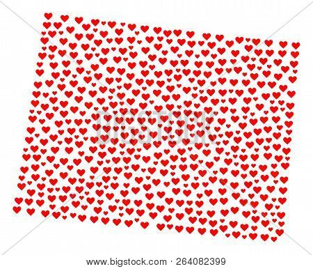 Collage Map Of Wyoming State Formed With Red Love Hearts. Vector Lovely Geographic Abstraction Of Ma