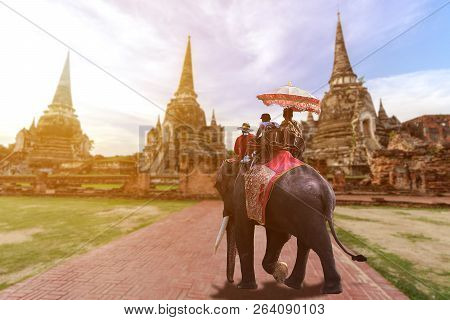 Foreign Tourists Elephant Ride To Visit Ayutthaya, There Are Ruins And Templesi In The Ayutthaya Per