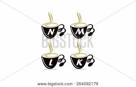 Coffee Cup Restaurant Set Logo Design Vector