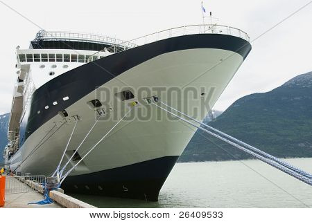 Cruise ship detail in Alaska harbor