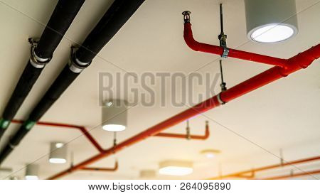 Automatic Fire Sprinkler Safety System And Black Water Cooling Supply Pipe. Fire Suppression. Fire P