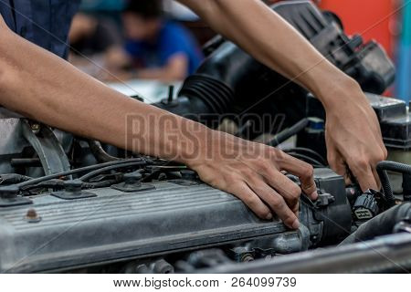 People Are Repair Engine Use A Wrench To Work.safe And Confident In Driving. Regular Inspection Of U