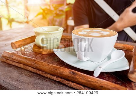 Cup Of Coffee And Tea Hot On Wooden Table.