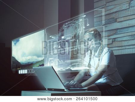 Young Woman Working On Laptop At Home.futuristic User Interface.