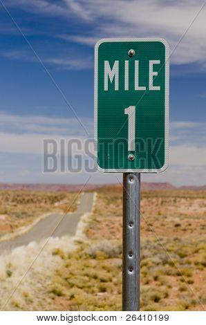 Mile 1 one marker on desert highway