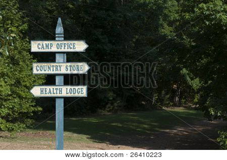 Summer camp sign post background