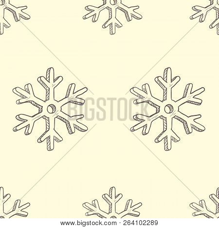 Vector Seamless Pattern Background With Sketch Snowflakes