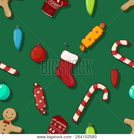 Vector Seamless Pattern Background With Cartoon Christmas Objects