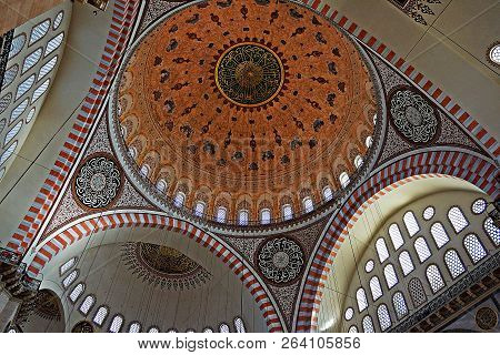 Istanbul, Turkey - April 15, 2015: Interior View Of Domes And Ceilings Of Suleymaniye Mosque, Larges