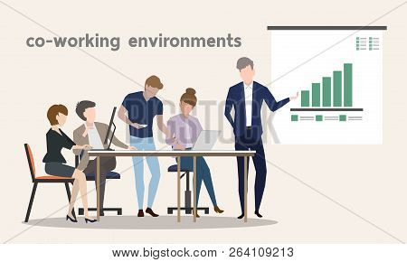 Co Working Environments Office Center People Talking  And Working Business Make Money Teamwork With