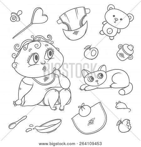 Surprised Child And Kitten. Hygiene Items, Baby Care And Toys. Chubby Curly Puzzled Kid With Big Eye