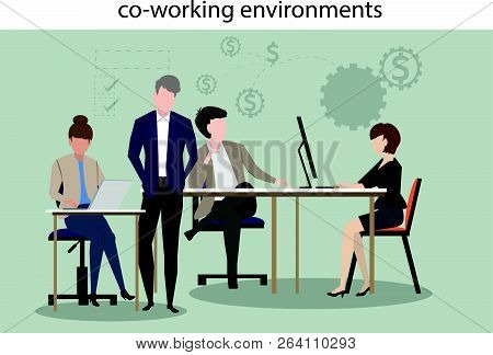 Co Working Environments Office Center People Talking And Working Business Make Money With Investment