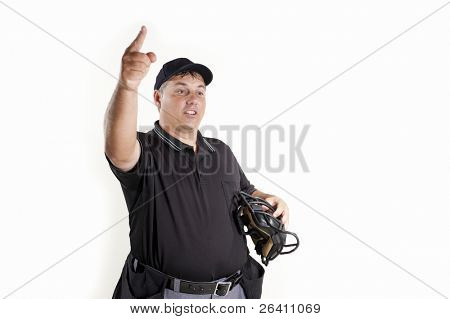 Thrown Out - Professional baseball umpire on white background