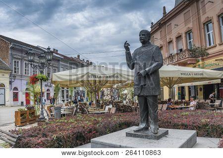 Novi Sad, Serbia - 07-18-2018.  The Statue Of Jasa Tomic, Great Serb Politician And  Journalist,  In