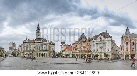 Novi Sad, Serbia - 07-18-2018. Panoramic View Of The Main Square In Novi Sad, Serbia In A Cloudy Sum