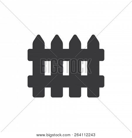 Wooden Fence Vector Icon On White Background. Wooden Fence Icon In Modern Design Style. Wooden Fence