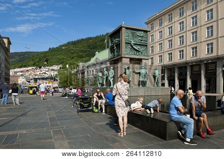 Bergen, Norway - July 15, 2018: Sailors Monument Located At Torgallmenningen - The Main Square Of Be