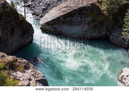 Travel To North Caucasus Region Region - Water Stream In Mountain River In Dombay Resort Village In