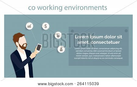 Technology Co Working Environments Office Business Center People Hand Hold Smartphone Presentation A