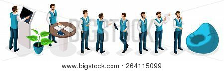 Isometric Set Of Businessmen, Male Bank Employees, Bank Manager, Uniform, Dress Code. Work In The Fi