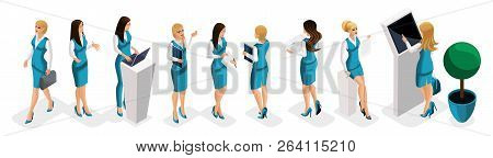 Isometric Set Of Business Lady, Bank Girl Workers, Head In The Bank, Uniform, Dress Code. Work In Th