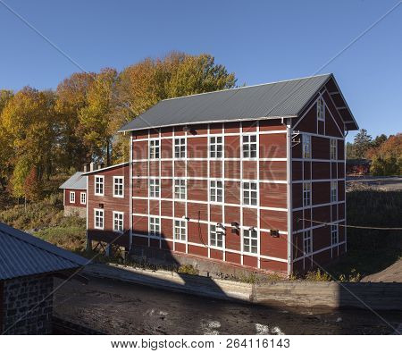 Nordmaling, Sweden On October 07. Outdoor View Of Old Wooden Buildings In Sunshine On October 07, 20