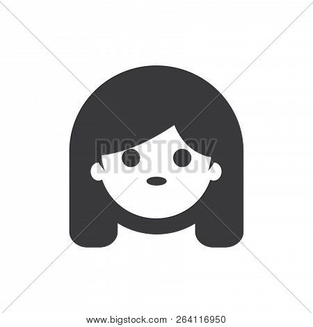 Girl Face Vector Icon On White Background. Girl Face Icon In Modern Design Style. Girl Face Vector I