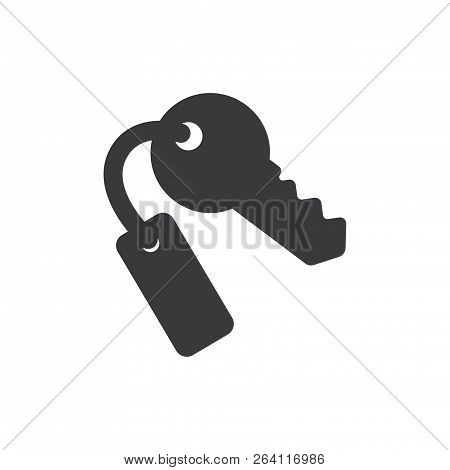 Hotel Door Key Vector Icon On White Background. Hotel Door Key Icon In Modern Design Style. Hotel Do