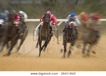 Motion blurred race horse action poster