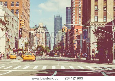 New York - September 2, 2018: New York City Street Road In Manhattan At Summer Time, Many Cars, Yell