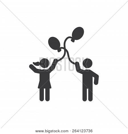 Balloon Playing Vector Icon On White Background. Balloon Playing Icon In Modern Design Style. Balloo