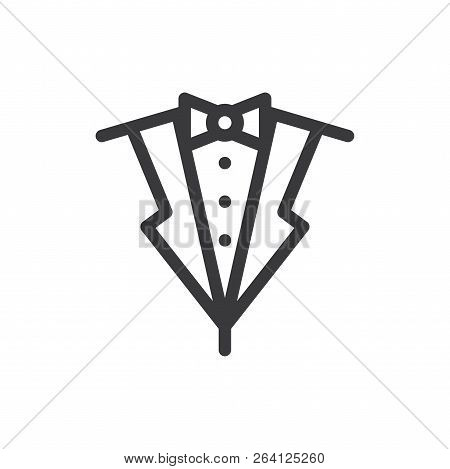 Suit Bow Tie Vector Icon On White Background. Suit Bow Tie Icon In Modern Design Style. Suit Bow Tie