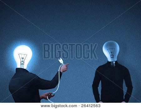 abstract bulb-head people interaction,photorealistic illustration