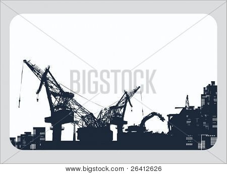 vector illustration construction ,silhouette,demolishing crane, construction  crane