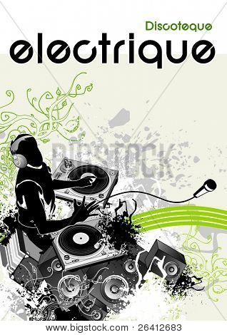 vector illustration,electronic music events,underground party flyer,print, dj with headphones & two turntable mixing beats,moving loudspeakers,microphone,grunge background with detailed floral design