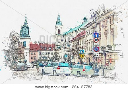 A Watercolor Sketch Or Illustration Of A Traditional Street With Apartment Buildings In Warsaw, Pola